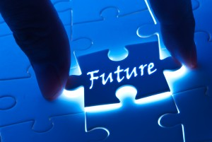Future concept, future word on puzzle piece with back light